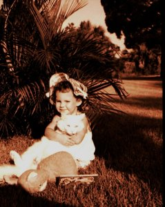 Me as a kid with my cat Misty, ca. 1968,. (Photo from Thurlow Family album.)