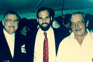Mark Perry with his father Clifton Perry (right) and another Gentleman, (left), (Year unmarked, Tides of Time, Celebrating the 50th Anniversary of the Florida Oceanographic Society, 1964-2014-puiblication, FOS.)