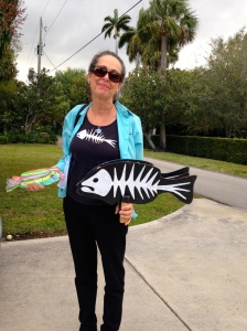 Janeen Mason with her fish for Kevin Powers, SFWMD. (Photo JTL.)