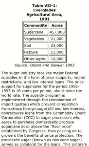 Stats of Sugar in Florida, 1991, Source Hazen and Sawyer, 1993)