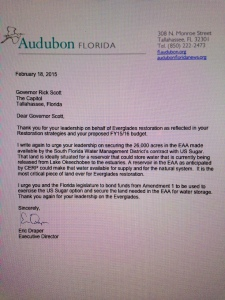 Eric Draper, Florida Audubon's,  letter to Governor Scott. (2-18-15)