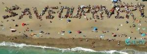 The public spelled our SAVE OUR RIVER, 2013. Aerial photo, C4CW.