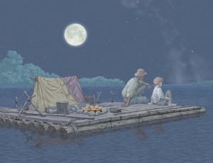 Tom Sawyer and Huckleberry Finn (On line photo.)