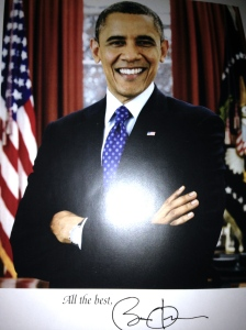Letter and photo sent back from White House staff, 2013.