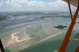 Murky greenish water could be seen in the area of the Sandbar and some remaining sickly looking seagrass beds were visible. (Photo JTL.)