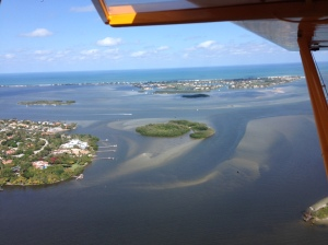 "Known as the ""Crossroads"" this area off of Sewall's Point is the confluence of the SLR/IRL. The St Lucie Inlet is just off of the the tip of S.Hutchinson Island and is known as Sailfish Point. 3-58-15. (Photo Ed Lippisch)"
