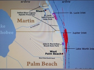 Map showing reefs in Marin and Palm Beach counties. The reef in MC is directly impacted by the discharges from Lake O. (map courtesy of state.)