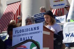 "River Kidz member, Keile Mader, 10, speaks in Tallahassee for the ""Clean Water and Amd. 1 Rally."" She wrote her own speech. (Cyndi Lenz, 2015)"
