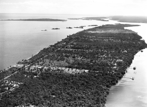 "Aerial of Sewall's Point taken by Arthur Ruhnke in the 1950s.  Photo courtesy of ""Sewall's Point, the History of a Peninsular Community on Florida's Treasure Coast,"" by Sandra Henderson Thurlow."