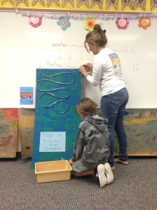 Mrs Jacobsen and her students present the Kissimmee river model. (Photo  JRL, 4-22-15.)