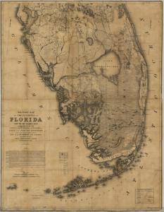 War map of the Everglades created during the Seminole Wars, 1856.