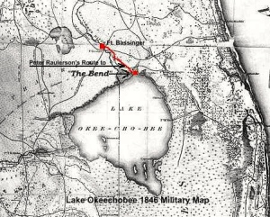Old military map from 1846 shows how the fingers of water south of Lake Okeechobee that are no longer there today as the lake is diked.