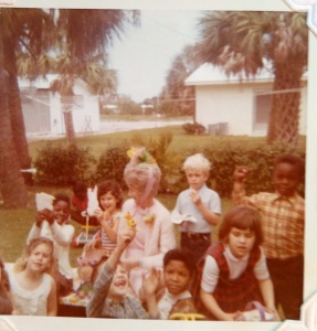 My first grade class at my home for an Easter party on Edgewood Drive, Stuart, 1970. (Photo Sandra Thurlow)