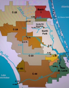 Map SFWMD showing canals and basins. Note S-308 or structure s-308 at Lake O and S-80 down the C-44 canal. Both of these structures have to open to allow water to flow into the C-44 canal to the St Lucie River, Indian River Lagoon.