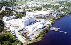 Martin Health Systems, formerly known as Martin Memorial Hospital, sits on the St Lucie River. (Public photo.)