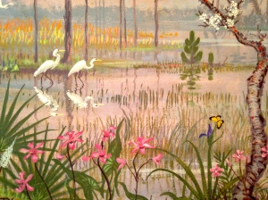 Section of Everglades mural painted by Joy Postle in 1962. Women's Club of Stuart. (Photo Jacqui Thurlow Lippisch)
