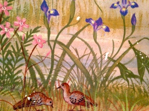 Section of mural showing doves and irises.