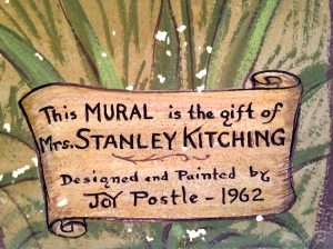 Stanley Kitching sponsored Mrs Postle's mural.  was a community leader, most notable locally he served as head of the Stuart Business Chamber and encouraged the connection of the St Lucie Canal known as C-44 to the South Fork of the St Lucie River. Ironic....These people did not know that this would lead to the destruction of the beautiful estuary. (Information from conversations with my mother, historian, Sandra Thurlow.)