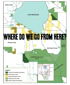 After the SFWMD killed the EAA US Sugar Lands option,  where do we go from here? (Map Everglades Foundation, River of Grass 2008.)