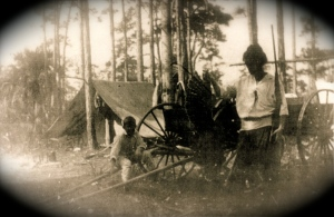 The J.J. Pichford Family camping at Cane Slough ca. 1918. (Archives of historian, Sandra Thurlow.)