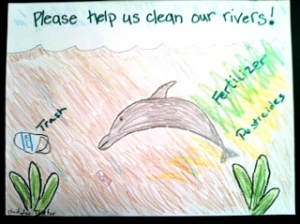 RK artwork  2011. Save the dolphins. Fertilizer is not good for their skin or for the fish they eat.