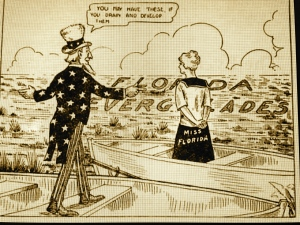 """Cartoon Everglades Drainage, 1916 """"Back to Broward,""""http://historymiamiarchives.org/online-exhibits/everglades/glades.htm. (Shared by Sandra Henderson Thurlow)"""