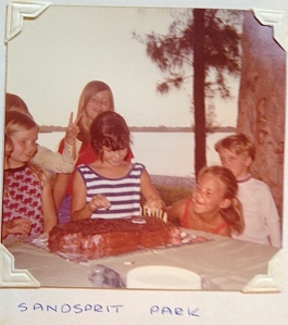 "Eighth birthday party at Sandsprit Park, with S to R Brenda Bobinski, Barbie Bobinski, Linda Nelson and Dale ""Chip"" Hudson."