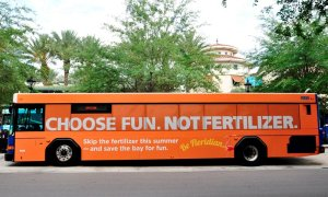 Ad on bus west coast or Gainesville.