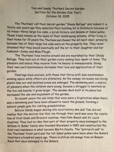 Secret Garden tour write up by my mother, in 2005.