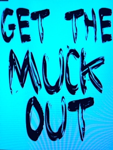 River Kidz GET THE MUCK OUT campaign and bumper sticker, 2014.
