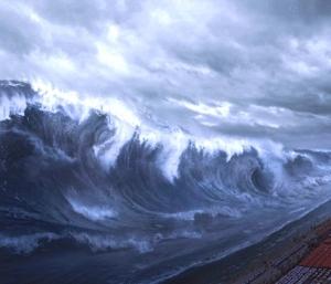 Tidal wave art public domain, altered JTL.