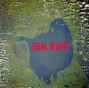 NASA aerial Lake Okeechobee, Florida, with text, JTL.