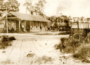 The Jensen train depot ca. early part of 1900s, photo courtesy of Seth Bramson, via Sandra Henderson Thurlow.)