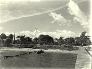 Pipe from home along Indian River Drive directly disposing of sewage into IRL. Photo historian Sandra Thurlow. ca 1950s.