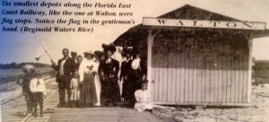 "Walton Flag Stop, with people happy to see each other and get the mail. Photo. (Photo courtesy of Reginald Waters Rice and Sandra Thurlow's book ""Historic Jensen and Eden on Florida's Indian River."""