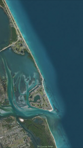 Google map showing Hutchinson Island with Sailfish Point south next to St Lucie Inlet. East is Atlantic Ocean and west is the Indian River Lagoon and Sewall's Point.