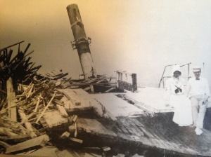 "Georges Valentine wrecked off the House of Refuge in Martin County in 1904. ""The earliest settlers used the lumber that washed up on the beach to construct their homes."" (Photo courtesy of Agnes Tietig Parlin via historian, Sandra Henderson Thurlow.)"