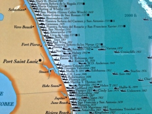 Map of ship wrecks along Florida's Treasure Coast. (Stuart Heritage.)