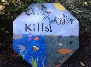 Dirty Water Kills. River Kidz recycled FDOT sign, Rachel Goldaman. 2013.