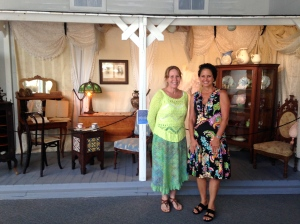 Brevard Museum Director, Patty Meyers and I stand before a pioneer display. (8-5-15.)
