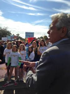 River Kidz listen to Mr Abood at St Lucie Locks and Dam protest of Lake O. 2014.
