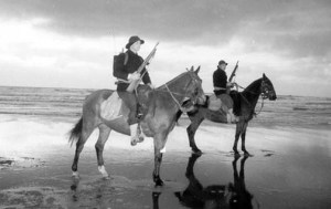 Army horses were used to patrol Indian River Lagoon area beaches during WWII. (Photo untitled: http://olive-drab.com/od_army-horses-mules_ww2.php)
