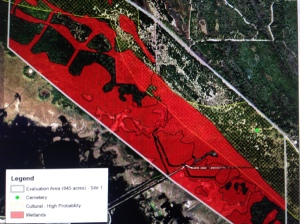 Image/map showing impacts to wetlands and cultural areas in Shiloh area. Preliminary environmental impact statement.