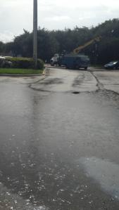 A flooded Publix parking lot on Hutchinson Island....
