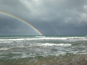 Double rainbow over Atlantic Ocean, Jensen Beach, Hutchinson Island-- just on the other side of the Indian River Lagoon. Photo JTL, 2015.