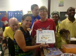Receiving River Kidz certificate.