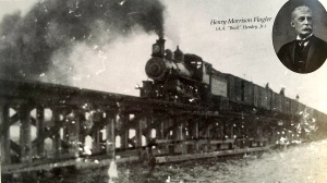 A train on the original wooden bridge that spanned the St Lucie River 1894. Historical Society of Martin County.
