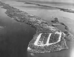 This aerial photograph taken in 1960 shows the spoil islands which were to become Isle Addition and Archipelago. (Dillion Reynolds Aerial Photography via Sandra Henderson Thurlow)