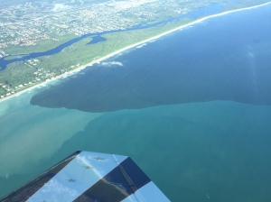 Aerial of plume along Jupiter Island south of St Lucie Inlet, at 1500 feet, 10-10-15. Photo Cam Collins.