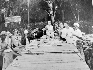 Picnicking at the Coral Strand 1927, for sale/lease sign in the background. Photo courtesy of Stuart the History of Martin County.